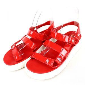 Chanel CHANEL Coco mark enamel sports sandals Velcro strap platform 38C red P2-6147