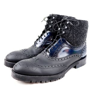 Louis Vuitton LOUIS VUITTON wing tip lace-up leather boots tweed switching mens black navy 5.5 O2-6538