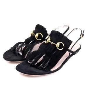 Gucci GUCCI Horsebit Suede Leather Fringe Strap Sandals Ladies 37.5 Black Gold O2-8197