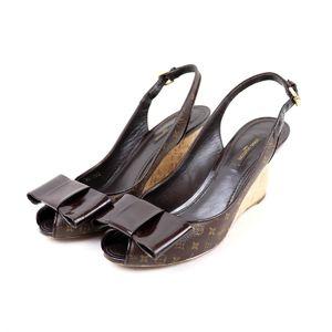 Louis Vuitton LOUIS VUITTON Monogram Ribbon Cork Wedge Heel Sandals Slingback Shoes Open Toe 37 Brown O2-7338
