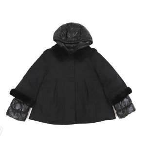 Moncler enfant layered down jacket fur hood kids ladies 14/164cm black F4-7086