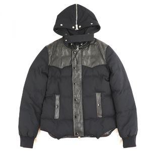 Saint-Laurent SAINT LAURENT PARIS 2013-14AW lamb leather switching down jacket blouson men's 46 black B3-5310