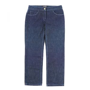 Chanel CHANEL 07P Straight denim pants Coco mark button Ladies 40 Blue B3-4557