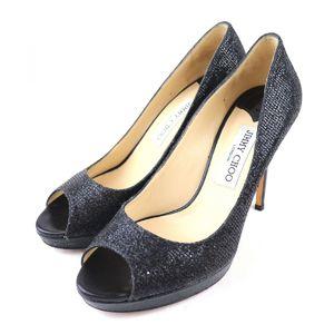 Jimmy Choo JIMMY CHOO glitter open toe heel pumps women's 38 black Q2-3387
