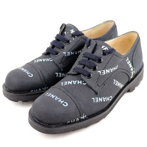 Chanel CHANEL Logo Canvas Sneakers Low Cut Women's Shoes 36 Black White N3-3412