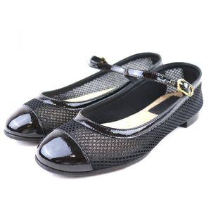 Chanel CHANEL Coco mark enamel switching mesh strap flat pumps shoes ladies 34.5C black S3-3381