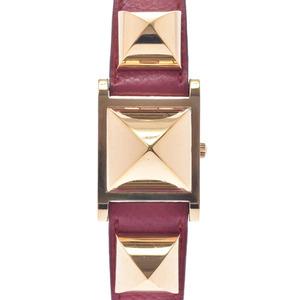 HERMES Medor Quartz Gold PLated Leather Watch Quartz