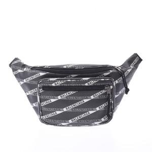 BALENCIAGA Explorer Belt Bag Body Logo Print Black White Unisex PVC Waist