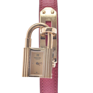 HERMES Kelly Watch Gold Plated Leather Ladies Quartz