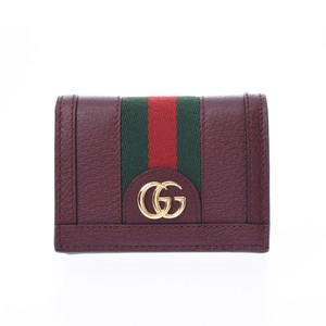 グッチ(Gucci) GUCCI グッチ オフディア コンパクトウォレット ボルドー 523155 レディース レザー 二つ折り財布