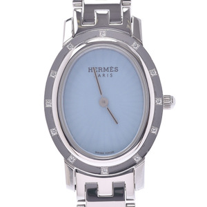 HERMES エルメス クリッパー オーバル 12Pダイヤ CO1.230 レディース SS 腕時計 クオーツ ブルーシェル文字盤