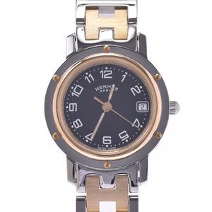 HERMES エルメス クリッパー 新型バックル CL4.220 レディース SS GP 腕時計 クオーツ 黒文字盤