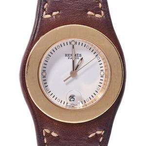 HERMES Arceau Chronograph Gold Plated Steel Leather Quartz Ladies Watch HA3.220