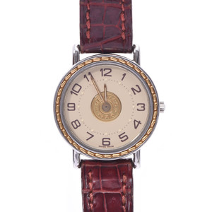 HERMES Sellier Watch Ladies Gold Plated Steel Leather Watch Quartz