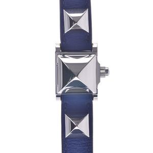 HERMES エルメス メドール ミニ ME2.110 □R刻印 ユニセックス SS 革 腕時計 クオーツ 白文字盤