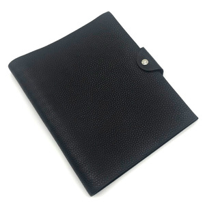 Hermes Note Cover Ulyss MM □ F Engraved Refill Togo Black Men HERMES