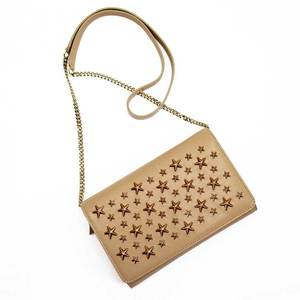Jimmy Choo JIMMY CHOO shoulder wallet party bag star studs beige gold leather ladies