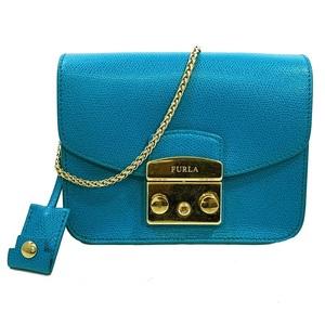 Furla Shoulder Bag Metropolis 215649 0116 Blue Leather FURLA Ladies Turquoise Gold Mini BGZ7 Chain