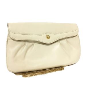 Christian Dior Chain Shoulder Bag Beige Gold Leather Ladies White Flap Pochette