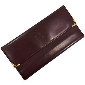 Cartier Tri-Fold Wallet Mast Bordeaux Gold Hardware Leather Calf Ladies Men Wine Red Vintage