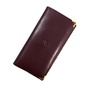 Cartier Bi-Fold Wallet Mastline L3000168 Bordeaux Leather Ladies Men Vertical Wine Red Gold Hardware Mast