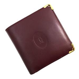 Cartier Bi-Fold Wallet Mastline Bordeaux Leather Calf Ladies Men Vintage Gold Hardware