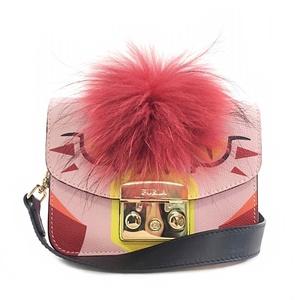 Furla Shoulder Bag 914340 Metropolis Pink Fur Gold Metal Fitting Leather Faux FURLA Ladies Pochette 2WAY Bird Illustration Flap