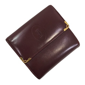 Cartier Tri-Fold Wallet Mast Bordeaux Gold Hardware Leather Calf Ladies Wine Red Vintage