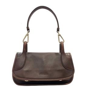 Prada Handbag Brown Leather PRADA Ladies Bag Mouth Can Silver Hardware Vintage
