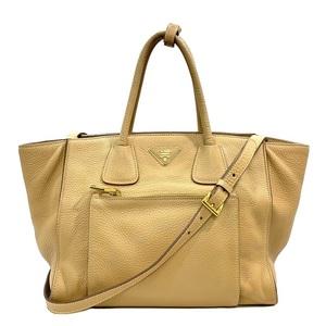 Prada 2WAY Bag BN2626 Beige Gold Leather PRADA Ladies Pocono Soft Shoulder Handbag