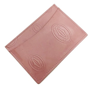 Cartier Card Case Happy Birthday Pink Salmon Leather Pass Ladies Holder Business Thin