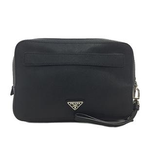 Prada Second Bag VR0052 Saffiano Black Silver Hardware Leather PRADA Mens Strap Clutch Handbag Zipper Plate
