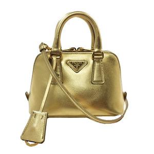 Prada 2WAY Bag BL0851 Saffiano Gold Metallic Leather PRADA Ladies Mini Pochette Plate Logo