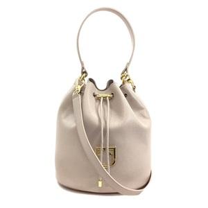 Furla 2WAY bag 1007826 Pink beige leather FURLA Ladies drawstring Handbag Shoulder Pouch with gold hardware