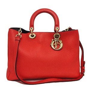 Christian Dior 2way Bag Diorissimo Red Gold Hardware Leather Ladies Tote