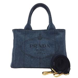 Prada 2WAY Bag 1BG439 Canapa Blue Gold Hardware Denim PRADA Ladies Tote Shoulder G Celebration