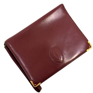 Cartier Second Bag T3278 Must Wine Red Gold Hardware Leather Mens Clutch with Vintage Strap Bordeaux Calf Flap