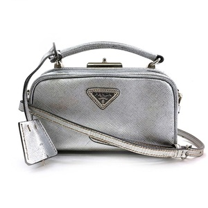 Prada Pochette Saffiano 2WAY Bag Silver Leather PRADA Ladies Shoulder