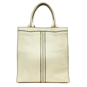 Valextra Medium Punch V5U07 White Leather Ladies Vertical Tote Bag Pocket Yes