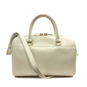 Saint Laurent Boston Bag 330958C150J Baby Duffle White Gold Leather Calf SAINTLAURENT Ladies 2WAY