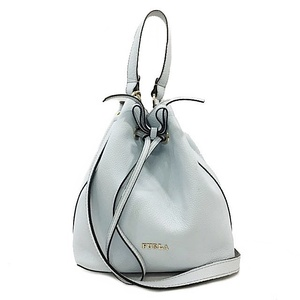 Furura drawstring shoulder bag light blue gold hardware leather FURLA ladies handbag ribbon 2WAY