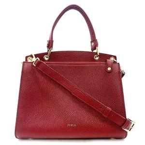 Furla Handbag 291451 2way Bag Tote Red Leather FRULA Square Wine Bordeaux Ladies Zipper Shoulder