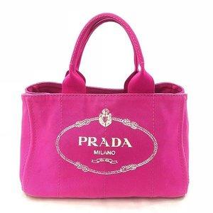 Prada tote bag handbag canvas canapa prada pink cotton shock ladies