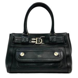 Christian Dior Dior Handbag Black Silver Leather Ladies Trotter D Bag Outer Pocket