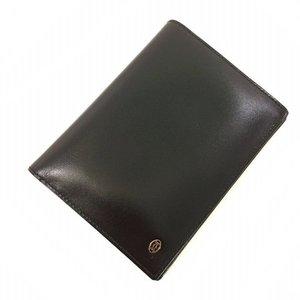 Cartier Bi-Fold Wallet Pasha Black Silver Leather Men's Fashionable Calf