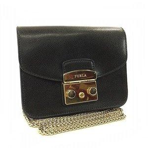 Furla Shoulder Bag Metropolis Pochette Black Leather Chain FURLA Lock Flap Ladies Mini Full
