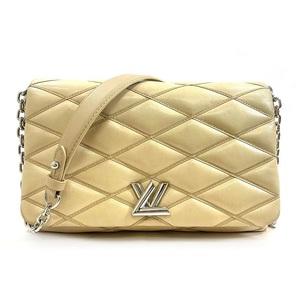 Louis Vuitton Shoulder Bag Martage Pattern Twist GO-14 MM Beige Silver Leather Lambskin LOUIS VUITTON Ladies Chain Hardware
