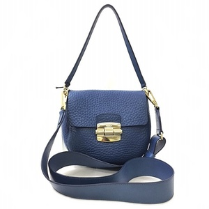 Furla Shoulder Bag Blue Leather FURLA Mini 2way Handbag Ladies Pochette Small Flap Pool Full