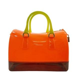 Furla Handbag Candy Bag Boston Orange Yellow Black Rubber Vinyl FURLA Ladies