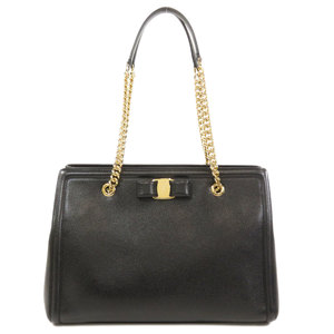 Salvatore Ferragamo Chain Shoulder Vala Ribbon Tote Bag Leather Ladies